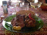 Roast wild boar and ratatouille