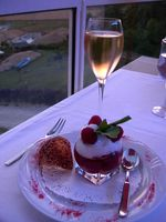 A glass of Champagne and my dessert