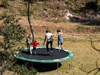 Emerson, Hugo, Celeste and Wil on the trampoline