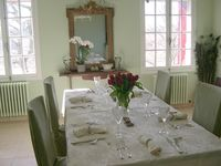 Dining room table set for lunch