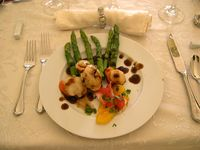 Scallops with balsamic citrus reduction and asparagus