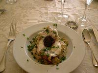 Sea bream with black truffle rissoto