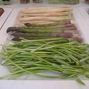 Three types of asparagus