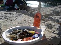 Platter with sea urchins