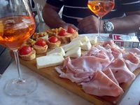 Cocktail hour and free appetizers at Visone's Wine Bar